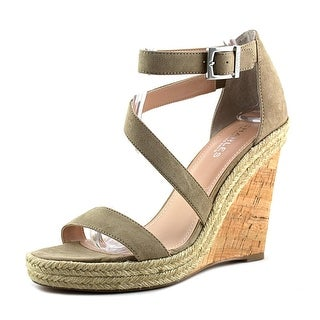 Charles By Charles David Becki Women Open Toe Suede Tan Wedge Sandal