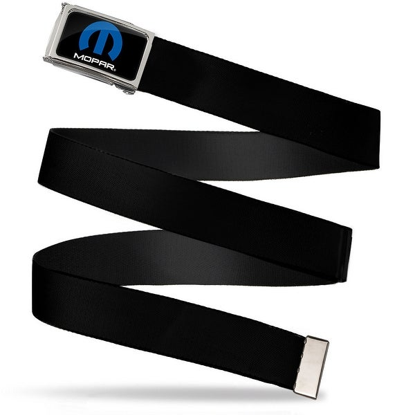 Mopar Logo Fcg Black Blue White Chrome Black Webbing Web Belt