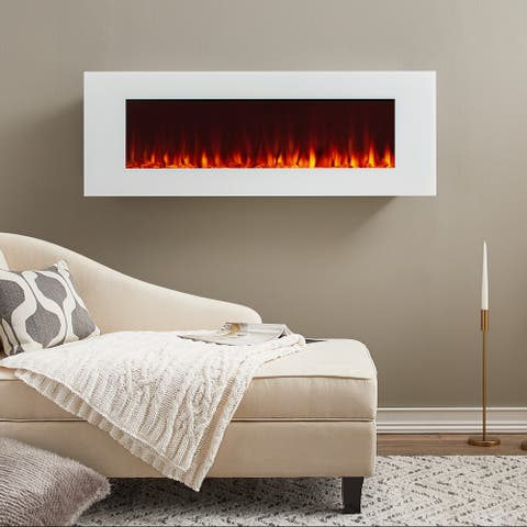 DiNatale Electric Fireplace in White by Real Flame - 50L x 5.25W x 17.75H