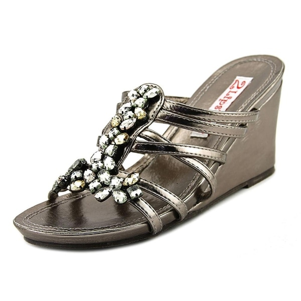 2 Lips Too Too Siris Women Open Toe Synthetic Gray Wedge Sandal