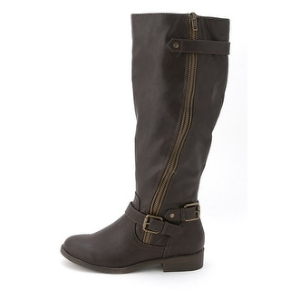Madden Girl Womens Crossss Almond Toe Ankle Riding Boots