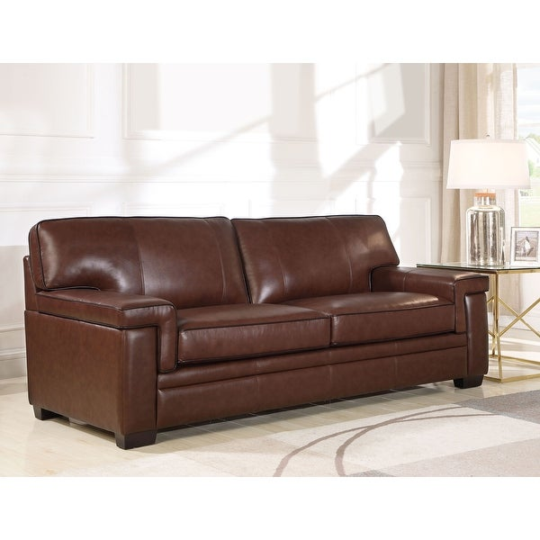 Abbyson Reagan Brown Top-Grain Leather Sofa. Opens flyout.