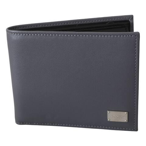 Dolce & Gabbana Gray Bifold Mens Card Holder Bill Slot Leather Men's Wallet - one-size