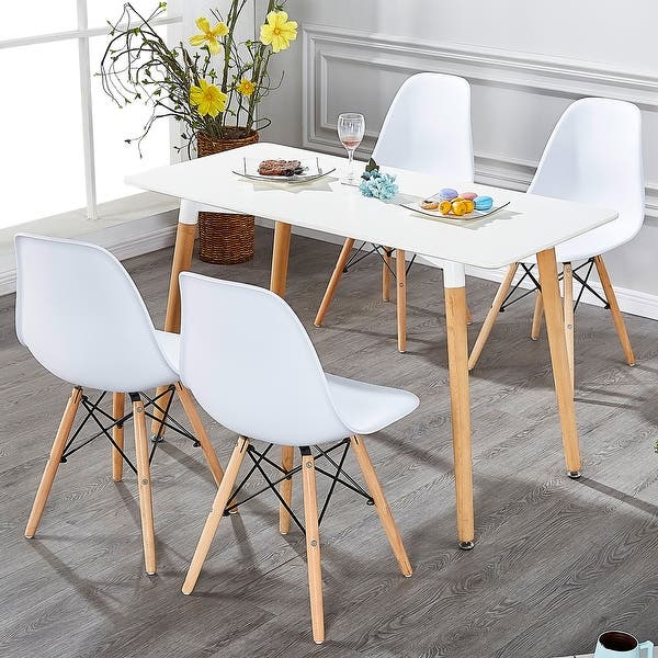 Vecelo Home Kitchen Dining Chair Sets Wood Legs Set Of 4 Black And White Overstock 13047280