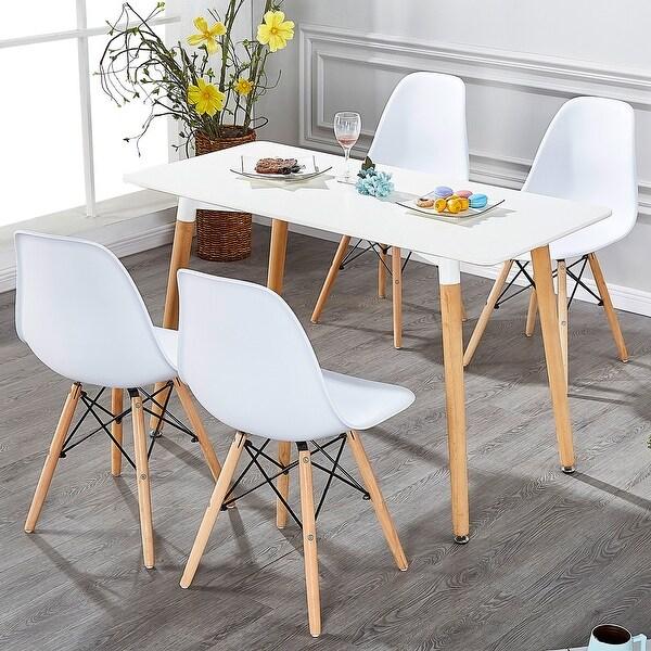 Black White Floral Dining Side Chair Set: Shop VECELO Kitchen Dining Chair Sets Side Chair Wood Legs