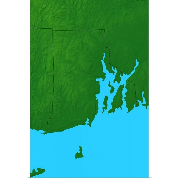 """""""Topographic map of Rhode Island"""" Poster Print"""