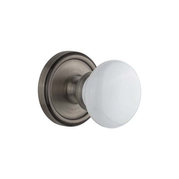 """Grandeur GEOHYD_PSG_238 Georgetown Solid Brass Rose Passage Knob Set with Hyde Park Knob and 2-3/8"""" Backset"""