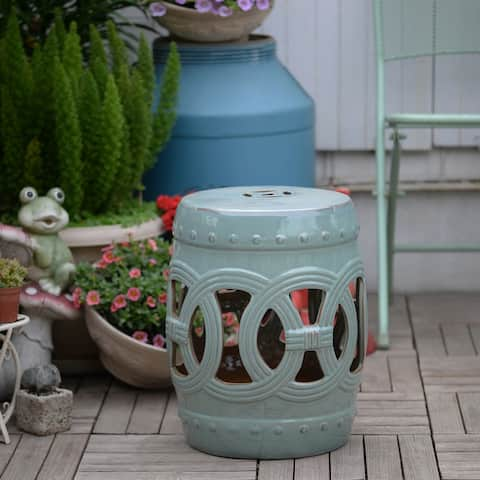 """Outsunny 14"""" Multi-Use Ceramic Garden Stool / Round Side Table / Foot Rest with Knotted Ring Design Antique-Blue Green"""