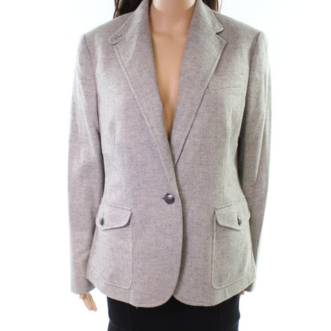 Lauren by Ralph Lauren Gray Womens Size 10 One-Button Blazer Wool