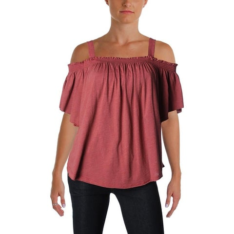 We The Free Womens Casual Top Ruffled Off-The-Shoulder