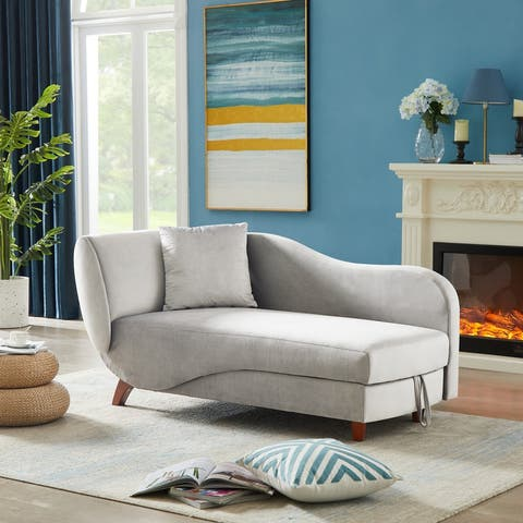 AOOLIVE Grey Sofa with storage,2 pillows,solid wood legs,chaise lounge
