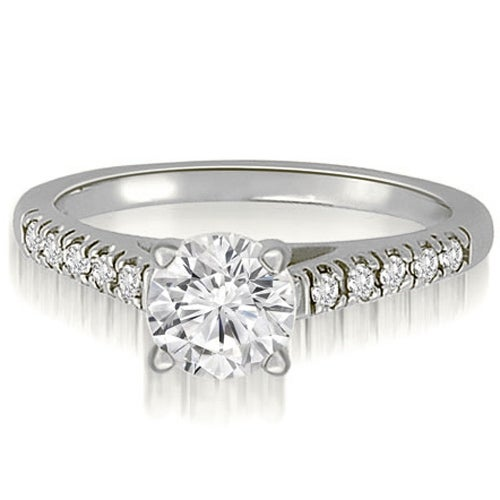 1.15 cttw. 14K White Gold Cathedral Round Cut Diamond Engagement Ring