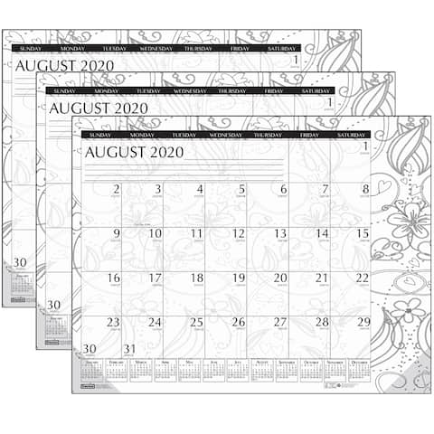 "Academic Monthly Desk Pad Calendar, Black & White Doodle, 12 Month August-July, 18-1/2"" x 13"", Pack - One Size"
