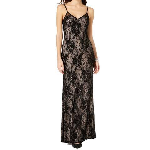 Xscape Womens Dress Black Nude Size 8 Sequin Lace-Yoke Mermaid Gown