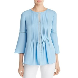 Elie Tahari Womens Orion Tunic Top Silk Pleated