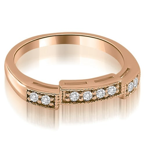 0.15 cttw. 14K Rose Gold Antique Style Milgrain Round Cut Diamond Wedding Ring