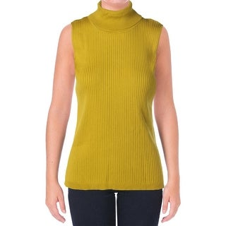 Vince Camuto Womens Cotton Ribbed Turtleneck Sweater