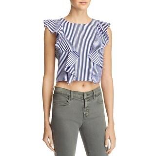 Lucy Paris Womens Terri Crop Top Striped Ruffled