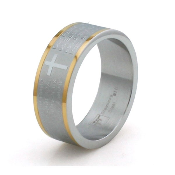 Two-Tone Stainless Steel Lord's Prayer Ring w/ Leveled Edge