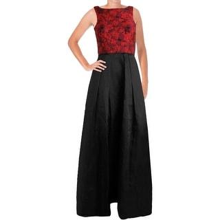 Aidan by Aidan Mattox Womens Evening Dress Jacquard Organza