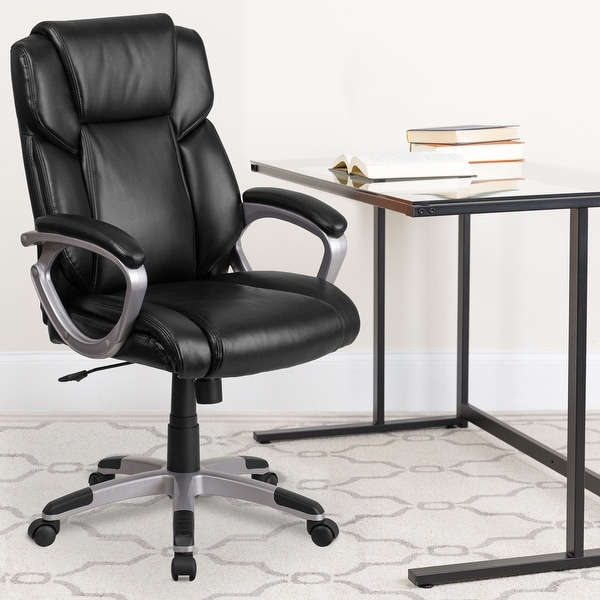 Mid-Back LeatherSoft Executive Swivel Office Chair with Padded Arms. Opens flyout.