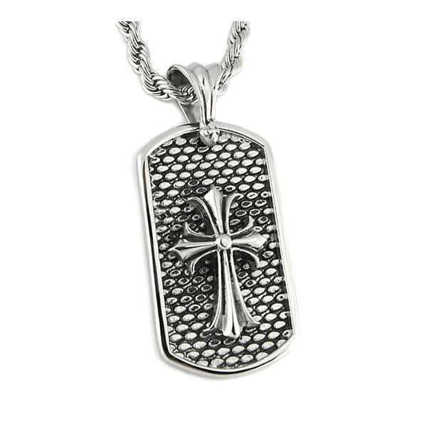 Stainless Steel Men's Cross Dog Tag Pendant - 24 inches