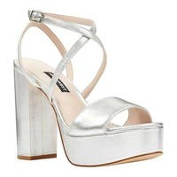Nine West Women's Markando Block Heel Platform Sandal Silver Metallic