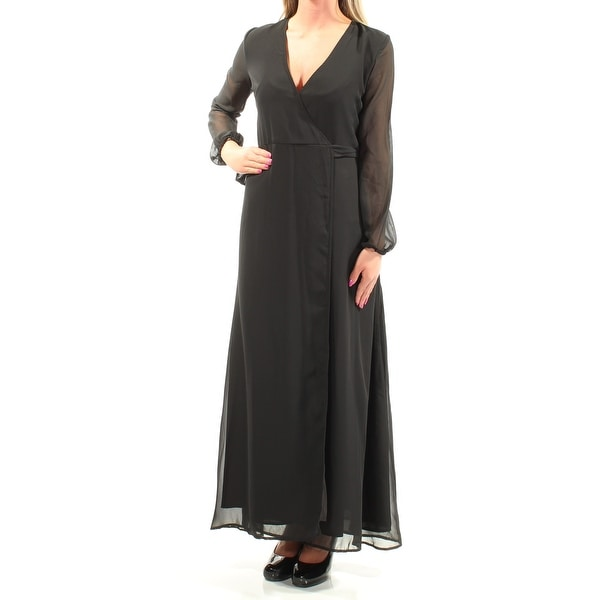 Shop Womens Black Long Sleeve Full Length Wrap Dress Size 2xs On