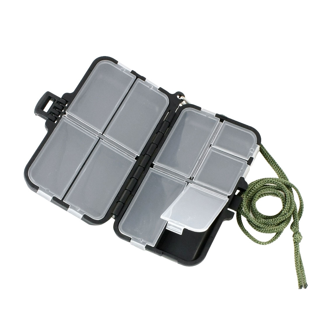 Unique Bargains 9 Compartments Waterproof Fishing Tackle Box Hook Lure Case  with Strap