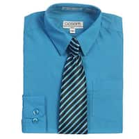 Turquoise Button Up Dress Shirt Striped Tie Set Toddler Boys 2T-4T