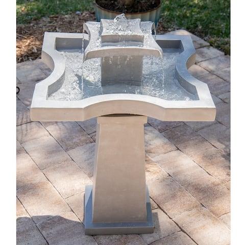 """Lutz 32"""" 2-Tier Outdoor Floor Fountain - Concrete - 22"""" x 22"""" x 32""""H - 22"""" x 32"""""""