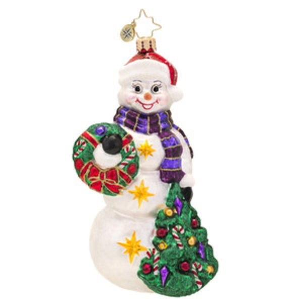 Christopher Radko Glass Snowtime Like Christmas Snowman Holiday Ornament #1017432