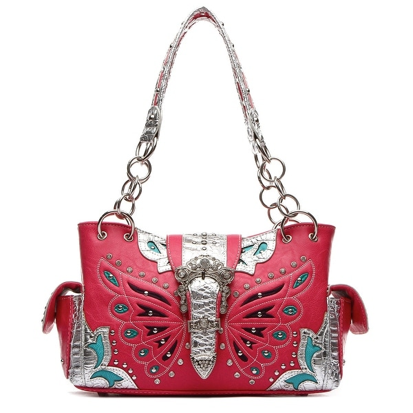 cfbdfc068691 Shop Western Butterfly Rhinestone Buckle Silver Trim Concealed Carry ...