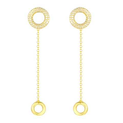 Vedantti 0.64Ct Round G-H/VVS1 Natural Diamond Open Circle Trio-Max Everyday Wear Drop Earring