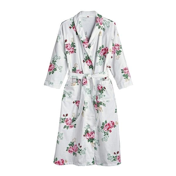Shop La Cera Women's Rose Print Flannel Robe
