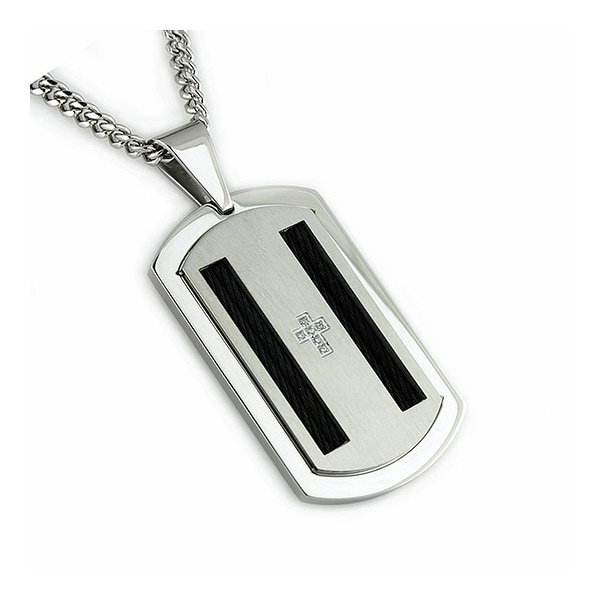 Stainless Steel Men's Dog Tag Pendant w/ CZ - 24 inches