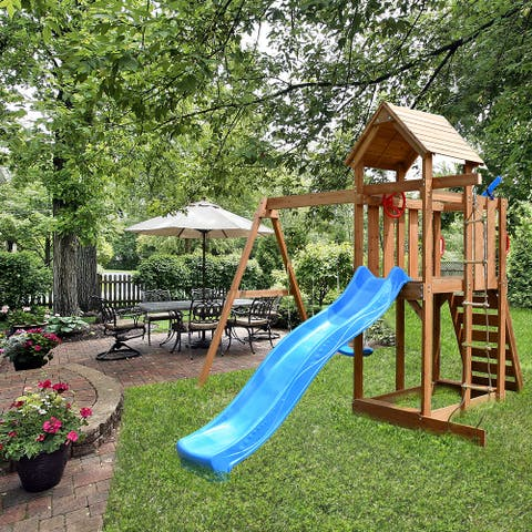 ALEKO Wooden Swing Playset with Canopy, Swing, Slide, Climbing Wall - Multicolor