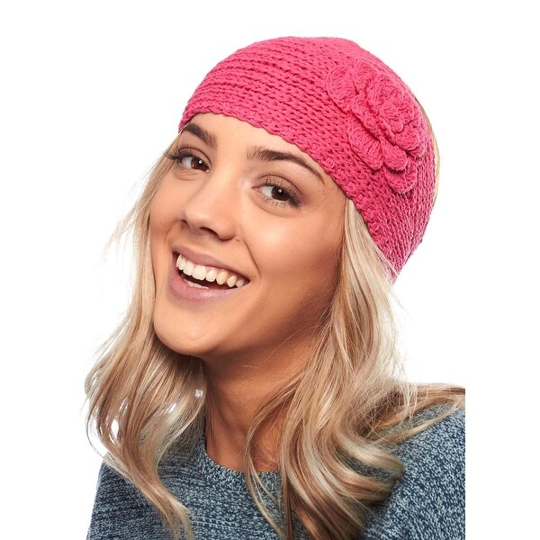 Pristine Pansy Knit Winter Headband with Flower for Girls