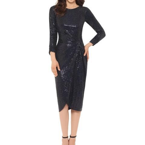 Xscape Women's Sheath Dress Black Blue Size 8 Sequin Twist-Detail