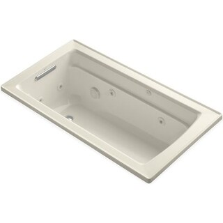"Kohler K-1122 Archer Collection 60"" Drop In Jetted Whirlpool Bath Tub with Reversible Drain"