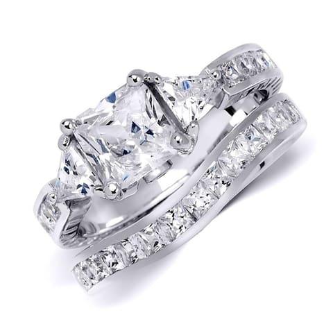 Sterling Silver Womens CZ Princess Cut 4.5 Carat Wedding Ring Set