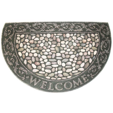"""35"""" Durable and Non-Slip Doormat with """"Welcome Pebbles"""" Design"""