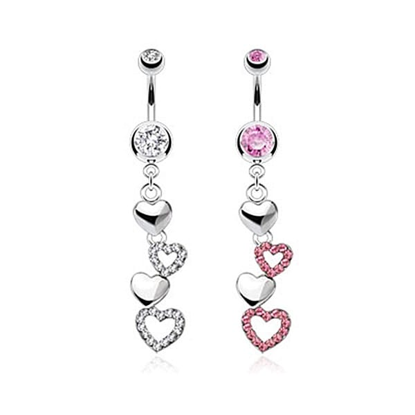 Cascading Hearts with Multi Paved CZ Navel Belly Button Ring 316L Surgical Steel (Sold Ind.)