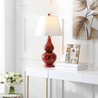 """Link to Safavieh Lighting 27-inch Cybil Double Gourd Red Table Lamp (Set of 2) - 14""""x14""""x26"""" Similar Items in Lamp Sets"""