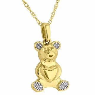 Teddy Bear Pendant 10K Gold Genuine 0.02CT Deiamonds Womens Heart Free Round Cut Necklace
