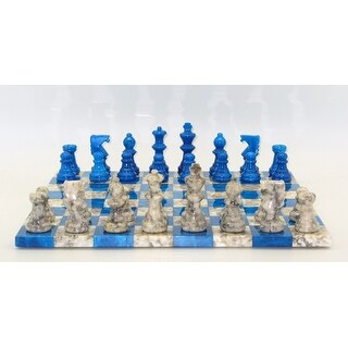 Blue & Grey Basic Alabaster Chess Set - Multicolored