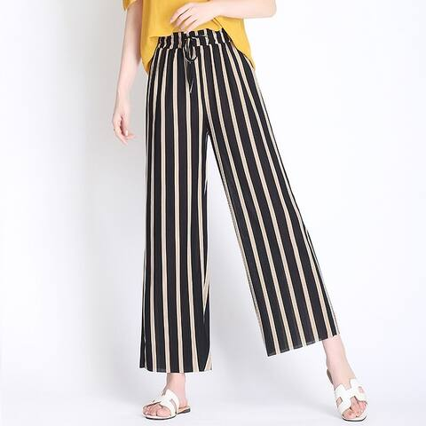 Summer Ice Silk Knit Holiday Stripe Large Size Straight Nine-Point Wide Leg Pants
