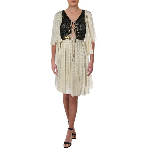 Free People Womens Moonglow Mini Dress Embellished Lace-Up