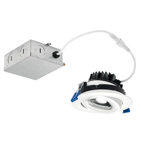 Kichler Direct-to-Ceiling 4 inch Round Gimbal 27K LED Downlight in White