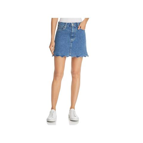 Joe's Jeans Womens The Bella Denim Skirt High-Rise Wavy Hem